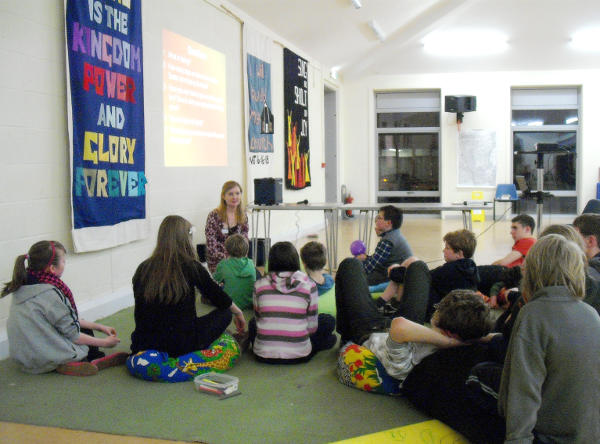Ellen leads a discussion with young people in Christ Church