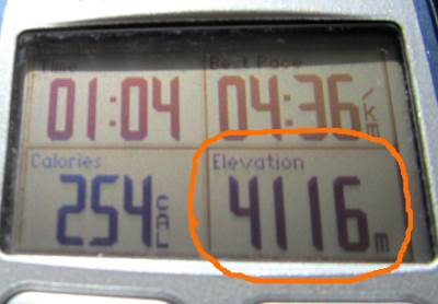 A GPS watch showing an altitude of 4116 metres