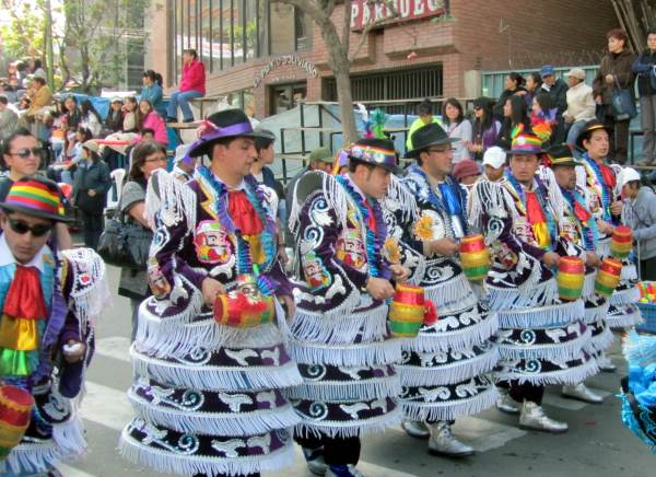 Dancers and costumes at the street carnival in La Paz