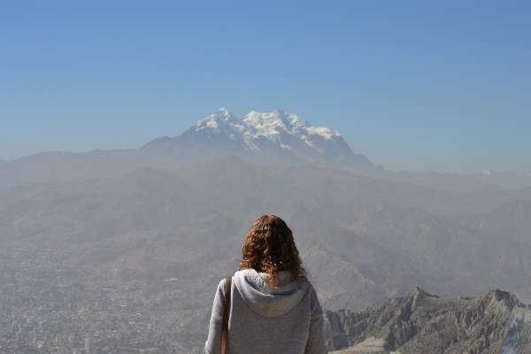 Beccy looking at Illimani mountain in the distance