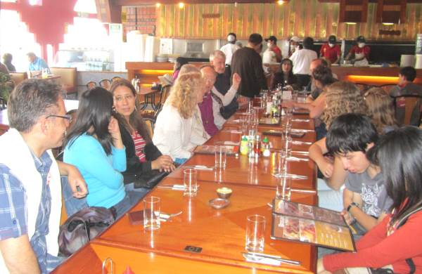 Members of Christ Church and Cristo Redentor at a Peruvian restaurant