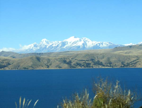 Lake Titicaca with mountains in the background
