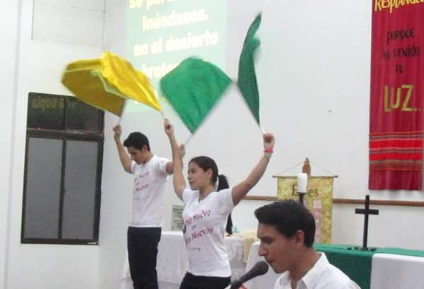 Choreographed dancing with flags