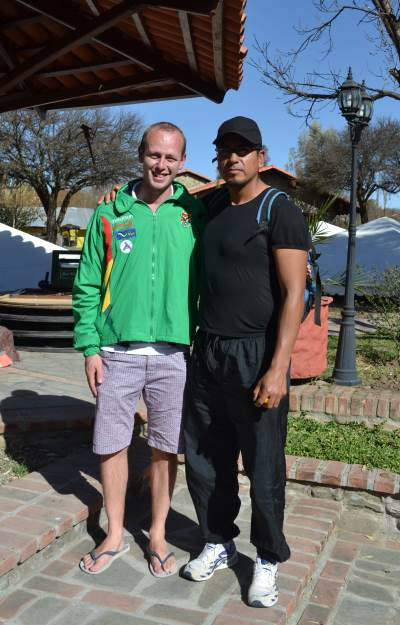 Matt was given a Bolivia Marathon sports jacket on his first visit to Bolivia
