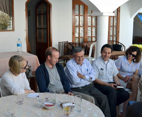 An informal meeting with Tarija church leaders