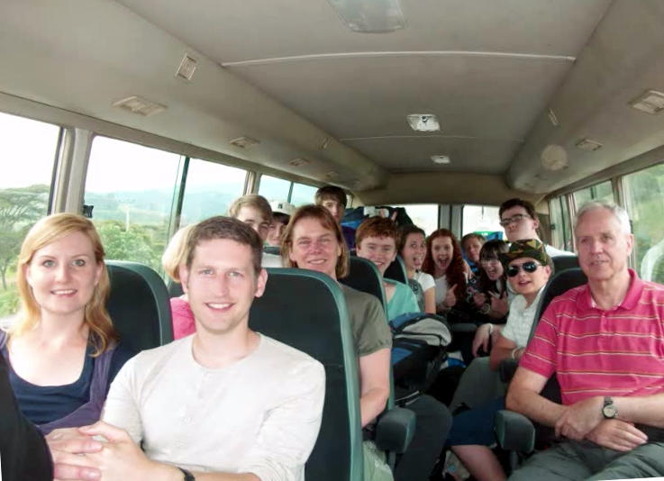 With the Youth Encounter team on a coach in Kenya