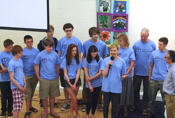 The Youth Encounter team at the front of the church