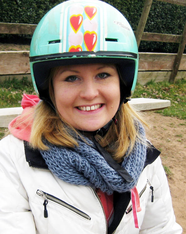 Wearing a hard hat for grass sledging at a Revive residential
