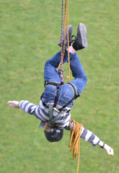 Upside down on the zipwire