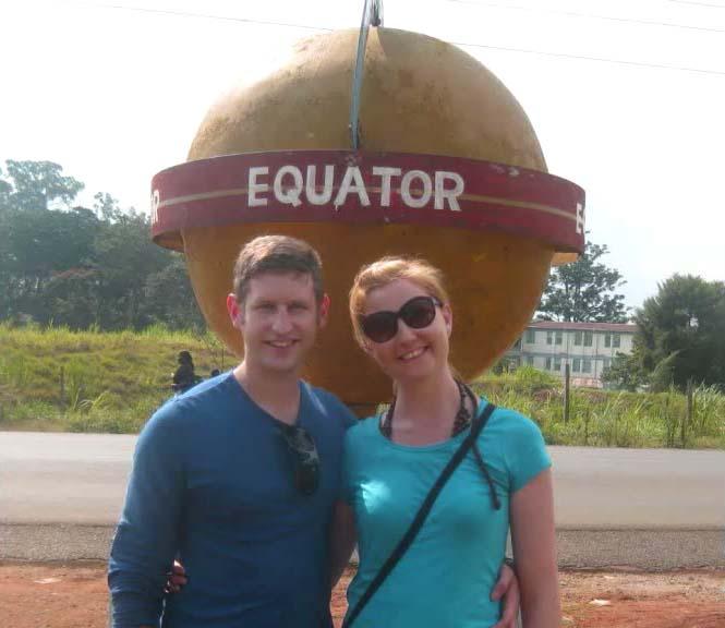 Colin and Ellen at the equator in Kenya