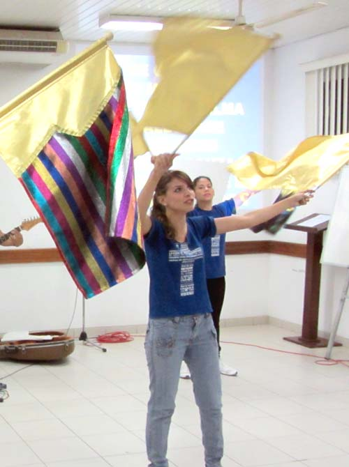 Choreographed flags in worship
