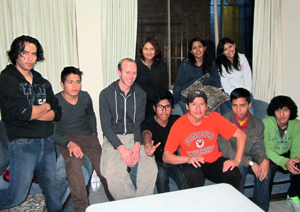 Matt with the youth group in Cochabamba, Bolivia