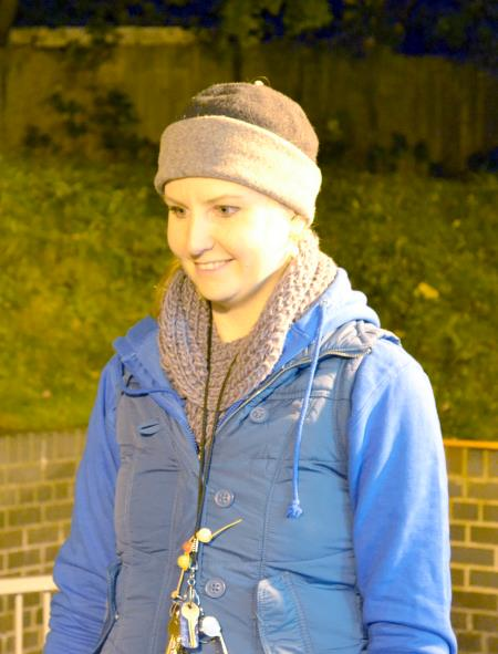 Wrapped up warm on a chilly evening at Slum Survivor
