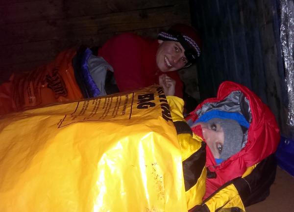 Ellen in mountain survival kit