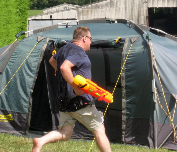 Carrying a water blaster