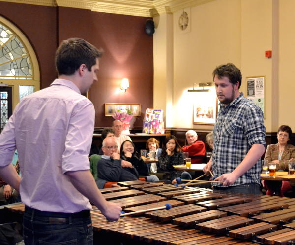 The Cymbiotic percussion duo at the Highbury pub