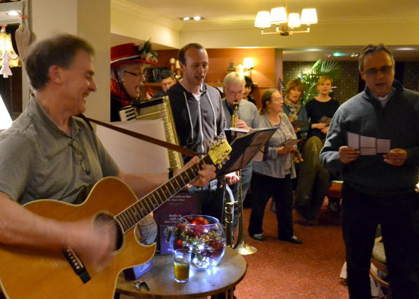 Carol singing in the Selly Park Tavern