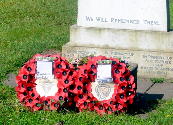 Wreaths on the war memorial at St Stephen's Church, Selly Park