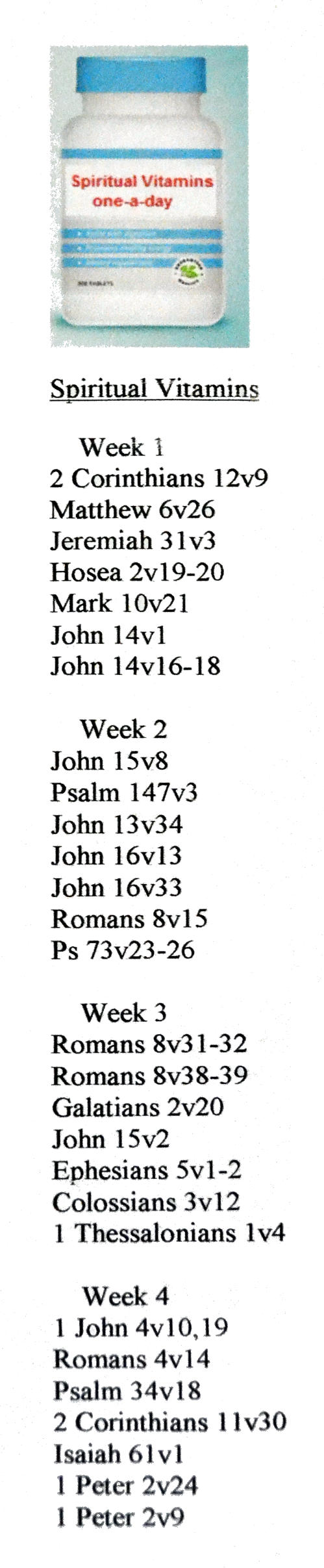 A list of helpful Bible verses