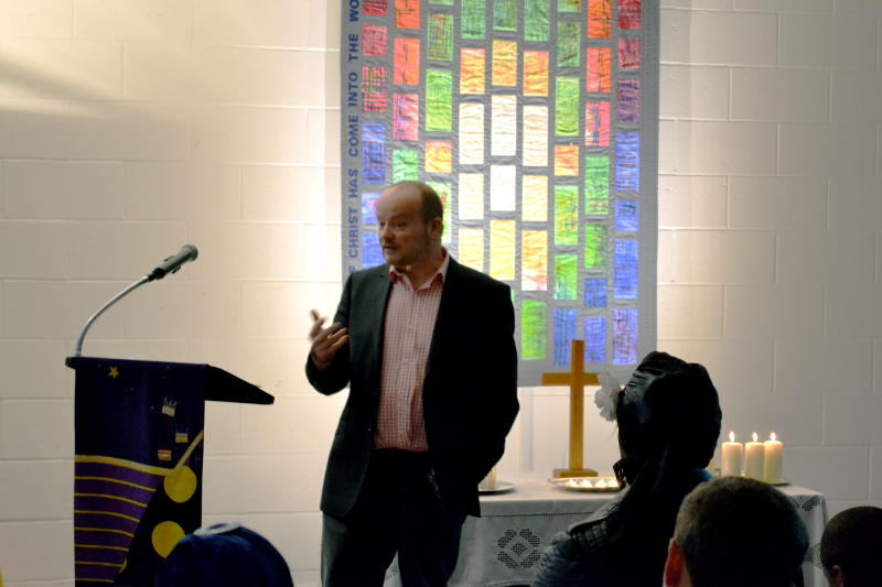 Simon Heathfield spoke at the Christ Church Carol service