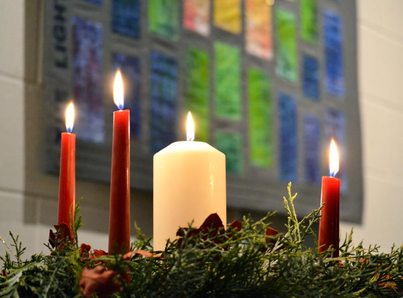 Christmas candles and the Light of the World art quilt