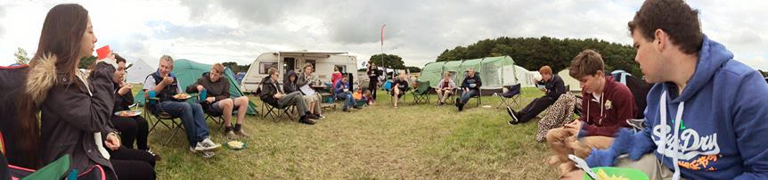 Panoramic view of the Christ Church camp at Soul Survivor