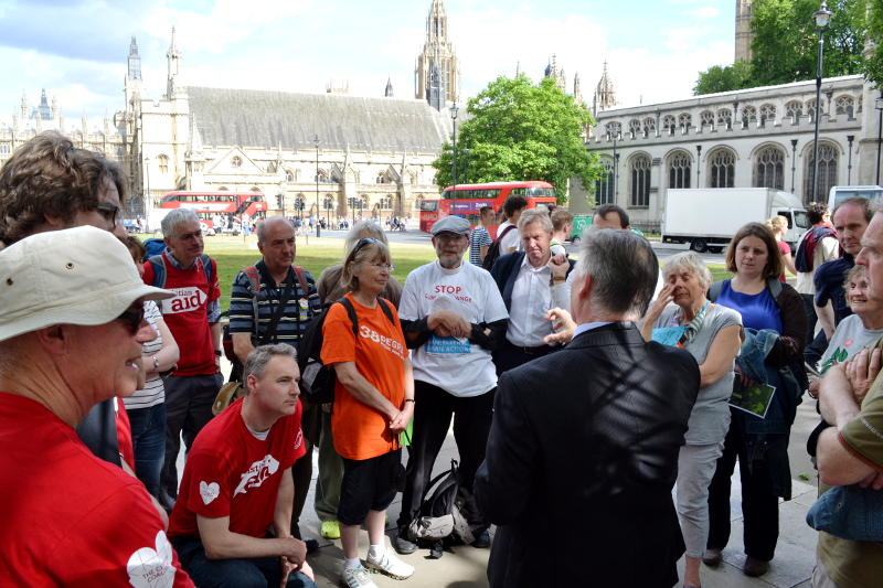 Discussing climate change with Steve McCabe MP in Parliament Square