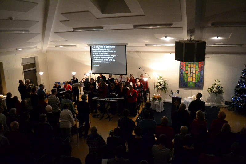 The choir leading the Christ Church carol service