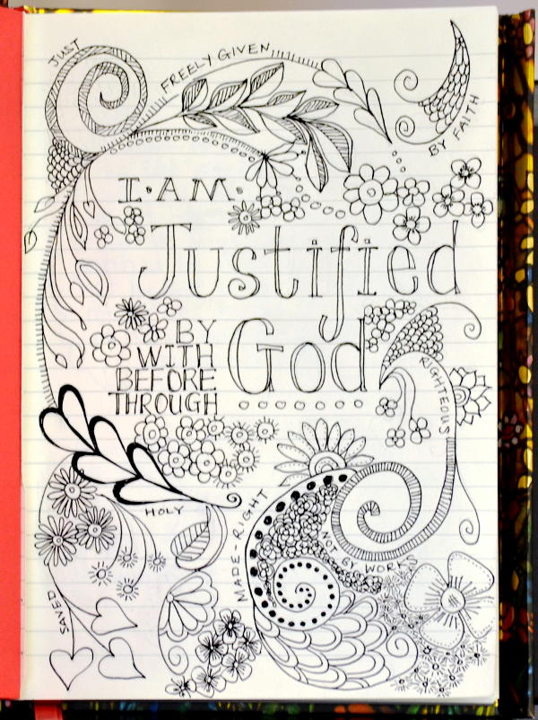 Artistic doodle: Justified - put right with God