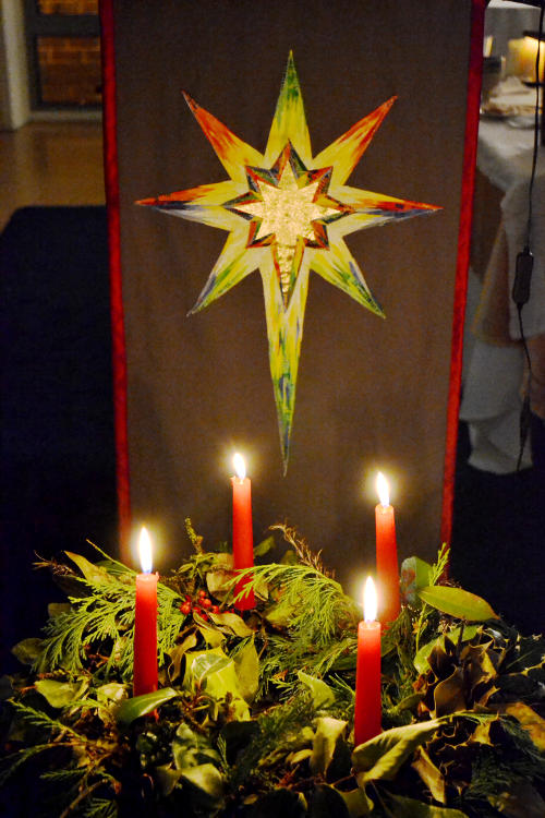 Candles in front of the lectern star