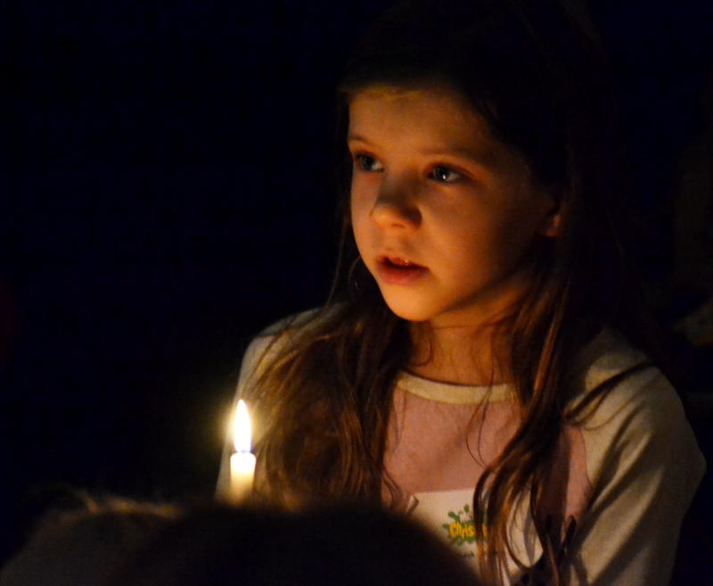 Christingle candle and face