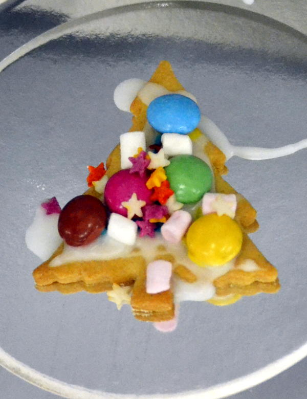 A Christmas tree biscuit