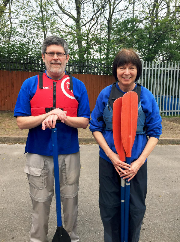 Martin and Dilys Garrod with kayak oars