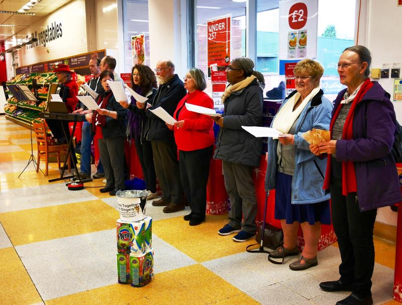 Carol singing at Stirchley Co-op