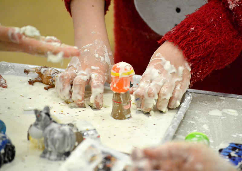 Nativity characters covered in white gloop