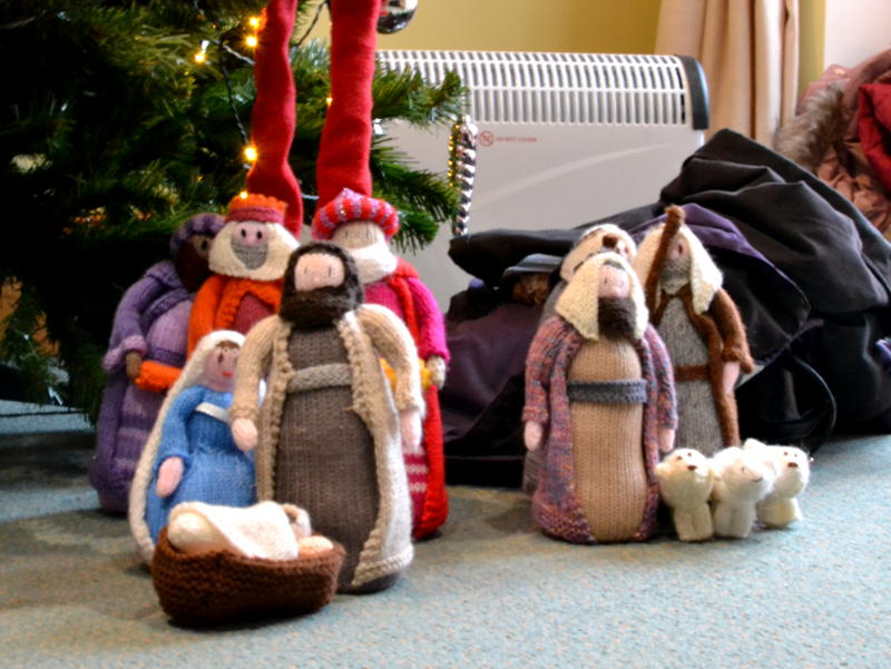 A knitted nativity set