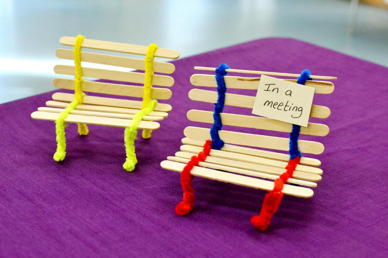 Benches made of lollipop sticks and pipe cleaners