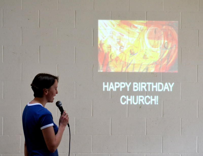 Happy Birthday Church projected on the wall
