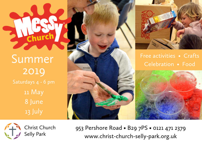 Dates for Messy Church 2019: 11 May, 8 June, 13 July