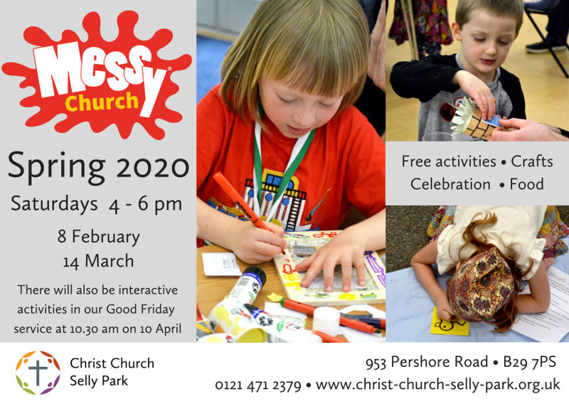 Flyer for for Messy Church Spring 2020