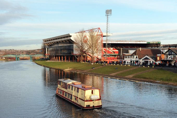 View of Nottingham Forest football ground across the River Trent