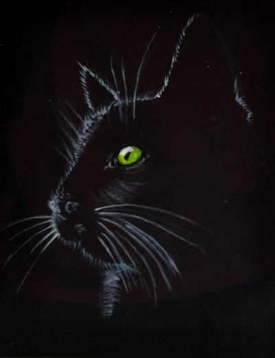 Outline of a black cat's head