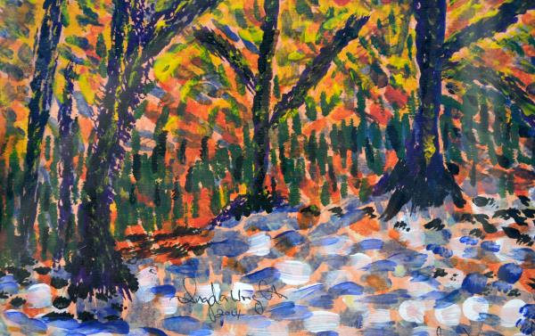 A woodland scene in impressionist style