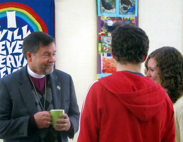 Bishop Frank meets two young people