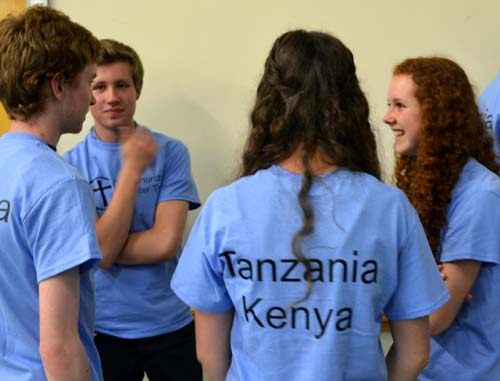 Members of the Youth Encounter group wearing special T-shirts