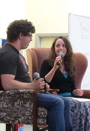 An interview during a Café Church session
