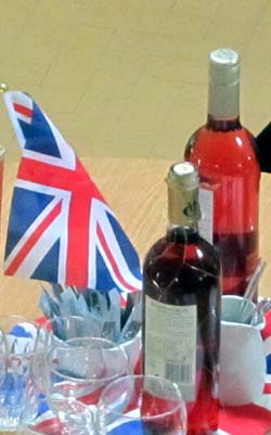 Wine bottles and a Union flag