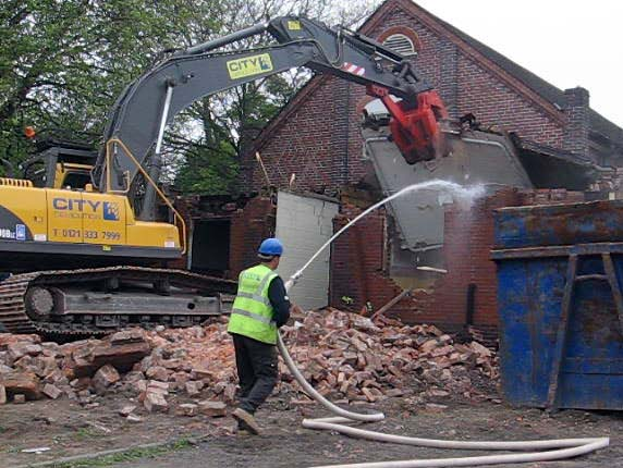 A demolition crew at work