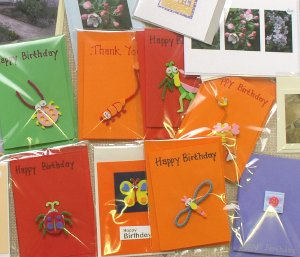 An assortment of home-made greetings cards