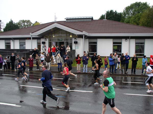 Runners passing Christ Church